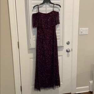 Adrianna Papell Plum sequined evening gown size 6